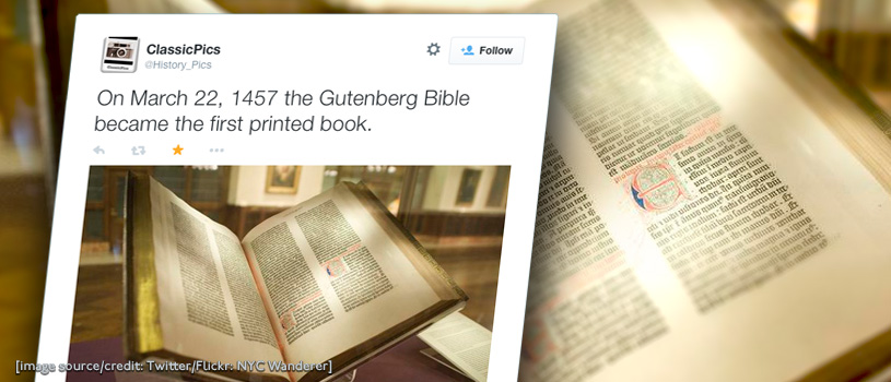 Twitter celebrates 558th birthday of the Gutenberg Bible