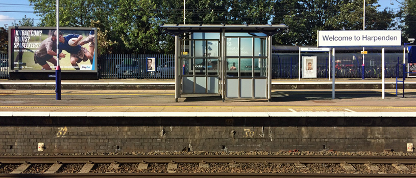 Harpenden,train,station,platform,billboard